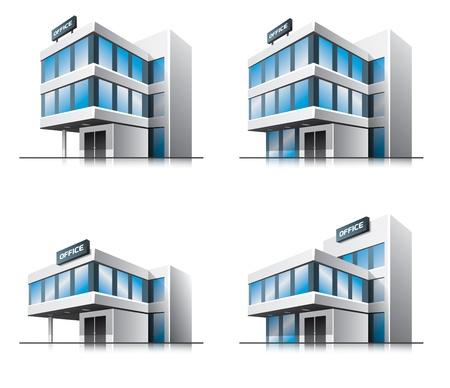 office entrance: Four cartoon office buildings