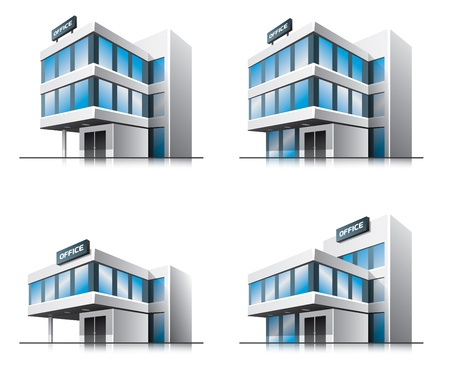 industrial building: Four cartoon office buildings