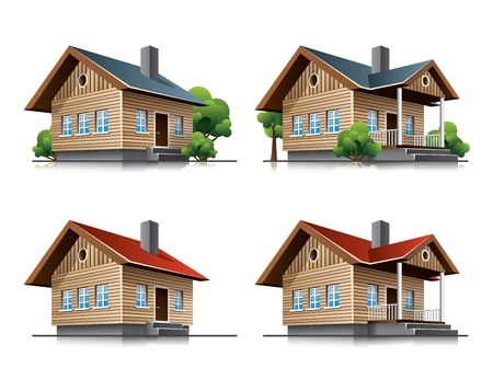 glass house: Two detailed wooden cottages  icons in cartoon style Illustration