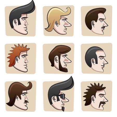 men hair style: Cartoon men heads