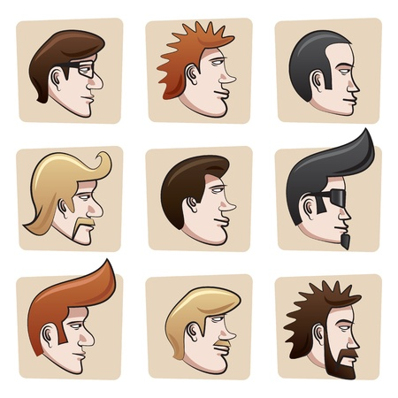 man face profile: Cartoon men heads