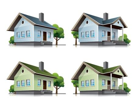 Twee gedetailleerde eengezinswoningen pictogrammen in cartoon-stijl. Stock Illustratie