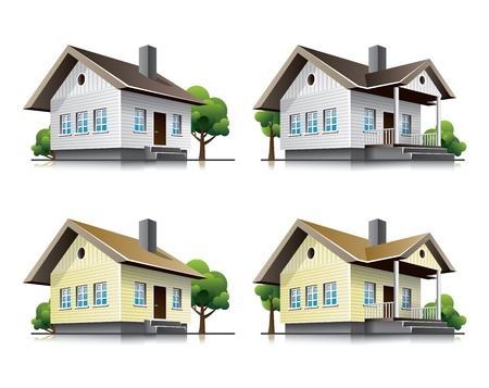 yellow house: Two detailed family houses icons in cartoon style. Illustration