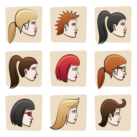 Cartoon women heads Vector