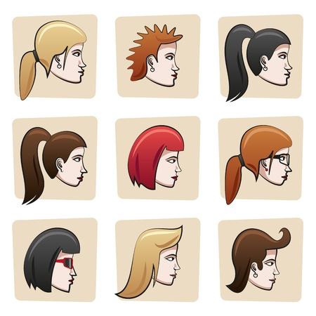 face side: Cartoon women heads Illustration