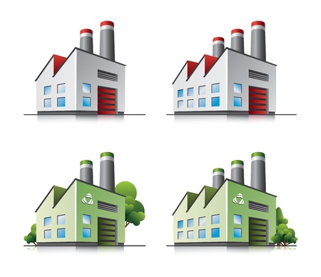 factory buildings: Factory vector icons in cartoon style.