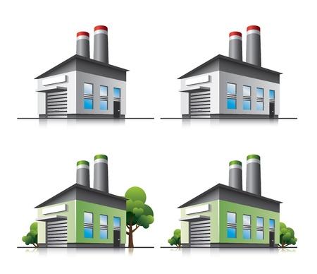 Fabrik Vektor-Icons im Cartoon-Stil. Standard-Bild - 17728218