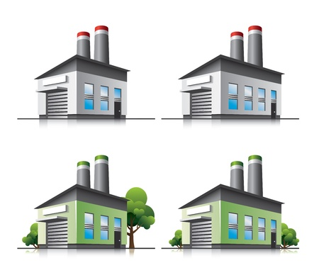 green buildings: Factory vector icons in cartoon style.