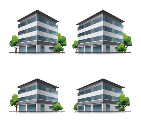 office building exterior: Set of four hotel or office vector building icons with trees