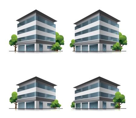 Set van vier hotel of kantoor vector gebouw iconen met bomen Stock Illustratie