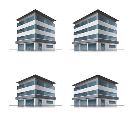 一連の 4 つのホテルやオフィスのベクトルの建物のアイコン  イラスト・ベクター素材