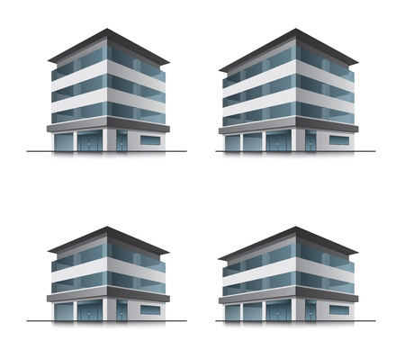 contemporary style: Set of four hotel or office vector building icons