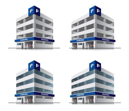 autom�vil caricatura: Cuatro edificios de vectores de dibujos animados de aparcamiento