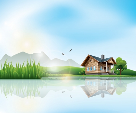 lake house: Beautiful sunny landscape with house and a lake