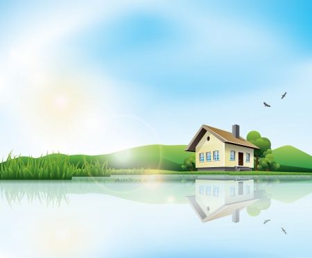 Beautiful sunny landscape with house and a lake Vector
