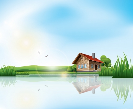 cartoon window: Beautiful sunny landscape with house and a lake