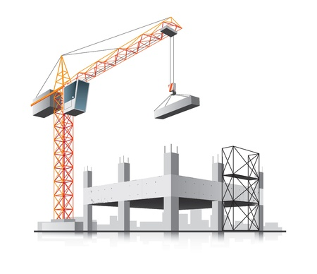lowering: Building construction with crane in the city on white background