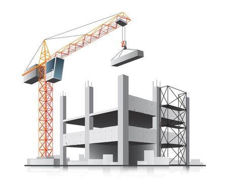 La construction de bâtiments avec une grue dans la ville sur fond blanc