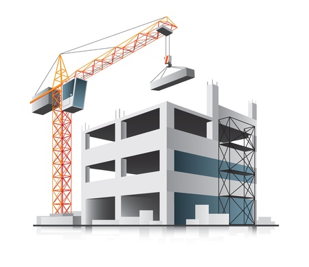 construction icon: Building construction with crane in the city on white background