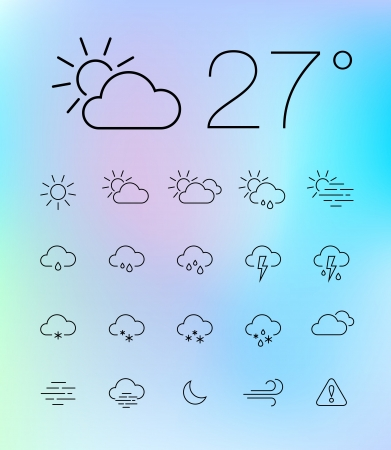 Set of 20 thin and clean outline weather icons for web or mobile use