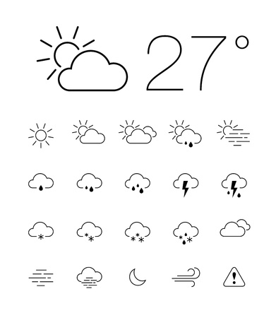 Set of 20 thin and clean outline weather icons for web or mobile use Vector