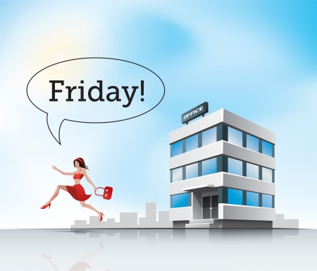 Beautiful woman employee in red dress running from office on friday