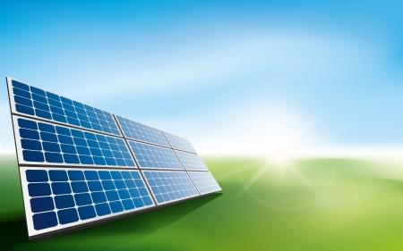 잔디 필드에서 태양 전지 패널