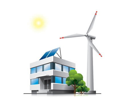 office environment: Sustainable office with solar panels and wind turbine Illustration