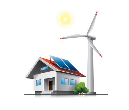 Duurzaam huis gezin met zonnepanelen en windturbines
