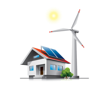 Nachhaltige Familienhaus mit Sonnenkollektoren und Windkraftanlagen Standard-Bild - 24525334