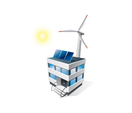 Isolated eco office building with solar panels and wind turbine