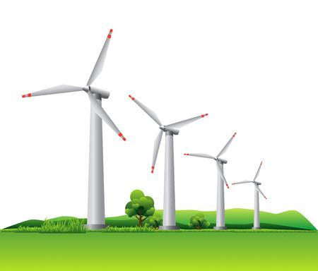 草原の風タービン  イラスト・ベクター素材
