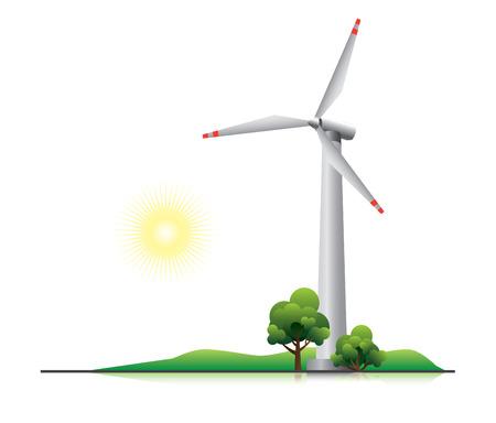 Windturbine met bomen en kleine heuvel Stock Illustratie