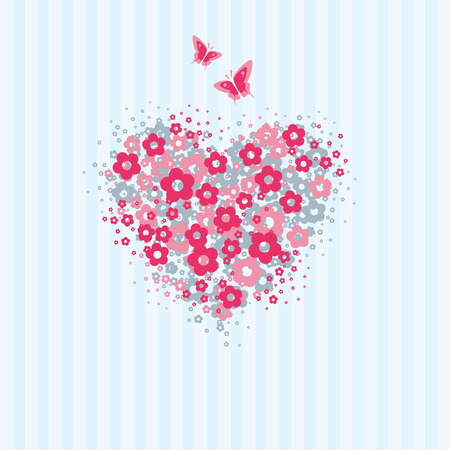 Love card with heart made of flower symbols with flying butterflies Vector
