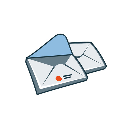 simplified: Simplified envelopes icon in cartoon style   Print publishing icon series
