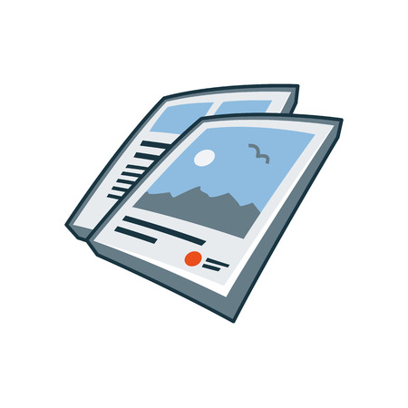 Simplified isolated flyers icon in cartoon style  Print publishing icon series