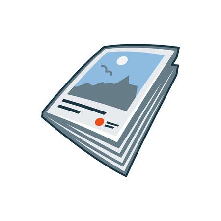 만화 스타일의 인쇄 출판 아이콘 시리즈의 단순화 고립 된 잡지 나 책자 아이콘