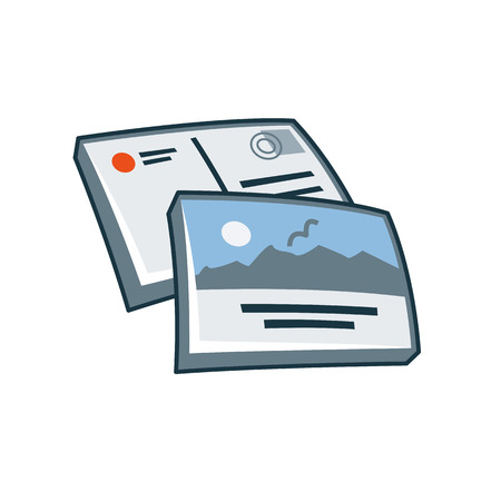Simplified postcard or greeting card icon in cartoon style  Print publishing icon series   向量圖像