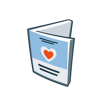 publishing: Simplified invitation love card icon in cartoon style  Print publishing icon series  Illustration