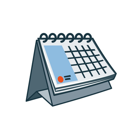 Simplified table calendar icon in cartoon style  Print publishing icon series  Illustration