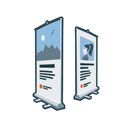 Roll up banners icon in cartoon style  Print publishing icon series