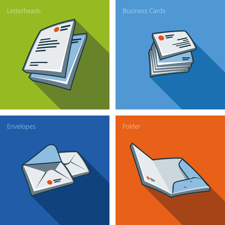 Set of four stationary icons consisting of letterhead, business card, envelope and folder in cartoon style   Vectores