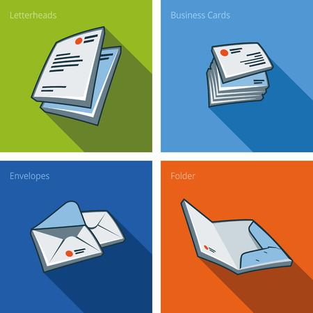 Set van vier stationaire iconen bestaande uit briefpapier, visitekaartje, envelop en de map in cartoon-stijl Stock Illustratie