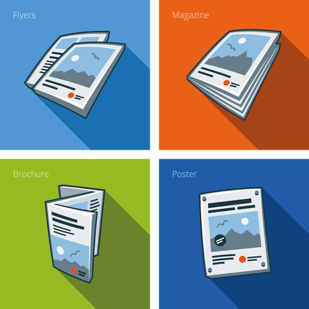 publishing: Set of four printouts icons consisting of flyer, magazine, brochure and poster in cartoon style