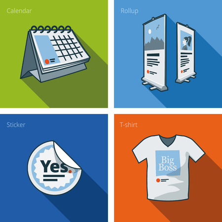 Set of four printouts icons consisting of calendar, rollup banner, sticker and t-shirt in cartoon style  Print publishing icon series