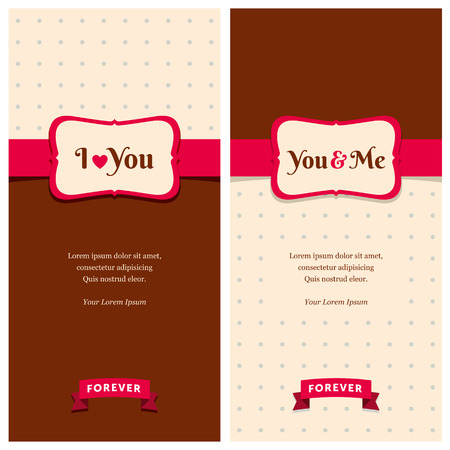 Nice greeting cards with stripes and dots background for wedding invitation, birthday or other holiday  Simple template with text space for your design  Vector