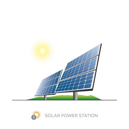 태양과 흰색 배경에 격리 된 태양 광 발전소 아이콘