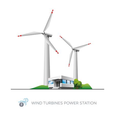 Icono de la central eléctrica de turbinas de viento aislada con edificio de oficinas en el fondo blanco Foto de archivo - 27535855