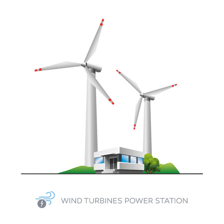 powerhouse: Isolated wind turbines power station icon with office building on white background