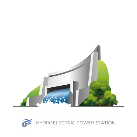 powerplant: Geïsoleerde waterkrachtcentrale pictogram op een witte achtergrond in cartoon-stijl Stock Illustratie